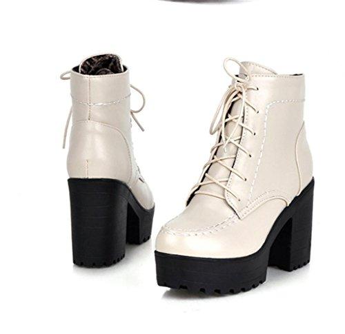 MNII Frauen-Damen-Absatz-Stiefel-Knöchel-Martin-Aufladungen schnüren sich oben Plattform-Partei- Modeschuhe meters white