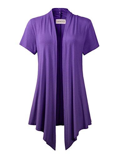 LARACE Women Cardigan Open Front Lighiweight Short Sleeve Drape Cardigans(3X, Deep Purple)