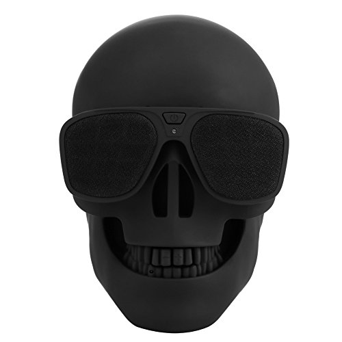 Quarkware Skull Protable Wireless Stereo Bluetooth Speaker with HD Sound and Bass Matte Black Cool Creative Gift