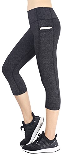 Neonysweets Women's Capri Workout Leggings with Pocket Running Yoga Pants Gray ()