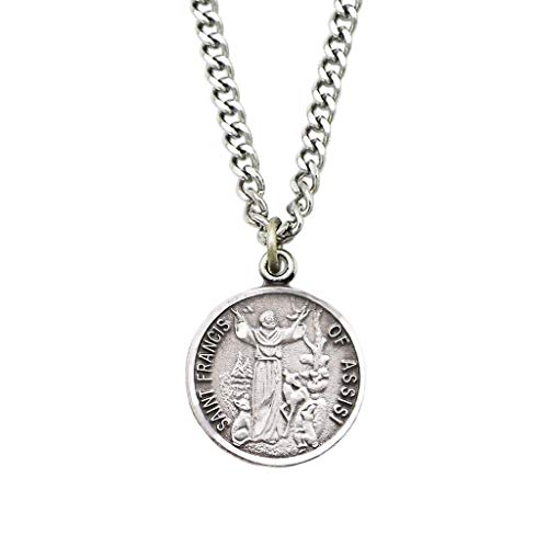 Religious Gifts Pewter Saint Francis of Assisi Medal with Bright Cut Accents, 7/8 Inch