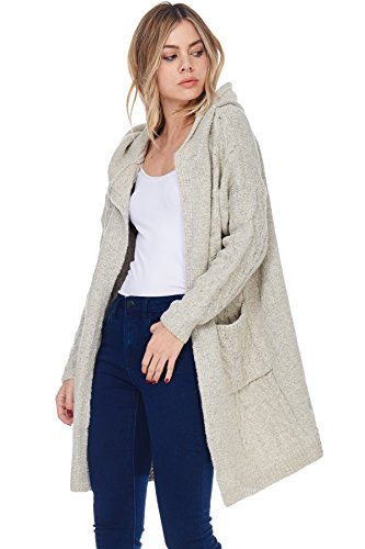 A+D Womens Casual Open Cable Knit Cardigan Sweater Hoodie Coat (Taupe, Small/Medium) (Hooded Sweater Cable)