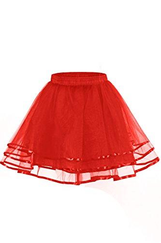 [LaceLady Women's Vintage Petticoat Tutu Underskirt Crinoline Dance Slip with Belt Red XL] (Tutu Halloween Costumes For Teenage Girls)