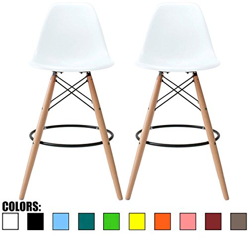 Oak Counter Height Side Chair - 2xhome Set of 2 White 25