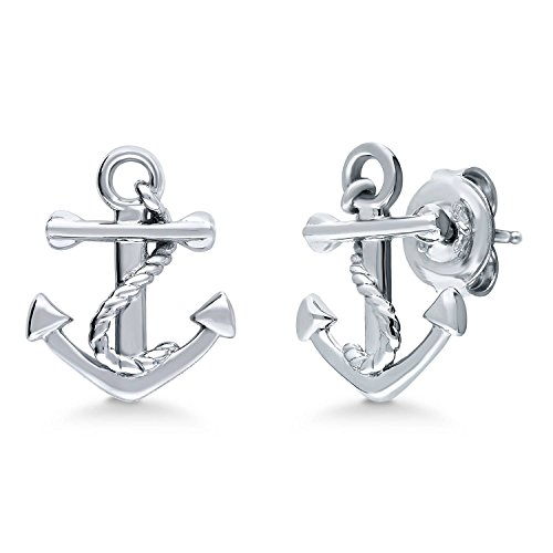 BERRICLE Rhodium Plated Sterling Silver Anchor Fashion Stud Earrings