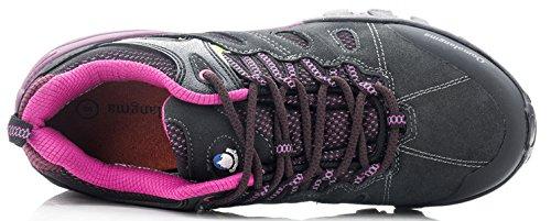 QOMOLANGMA Womens Hiking Shoes Skid-Proof Walking Sneaker For Running Trekking Outdoor Training Grey/Purple OwQDXMT