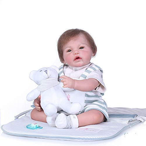 Icradle 100% Hand-Made 20 Inch 50cm Real Life Reborn Baby Girl Doll Soft Silicone Baby Doll Painted by Genesis Heat Paint Weighted Body Around 5lbs Toddler Doll for Age 3+ - Named Noah