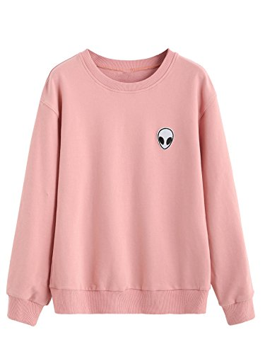SweatyRocks Sweatshirt Women Pink Alien Patch Drop Shoulder Long Sleeve Shirt (Sweatshirt Cute)