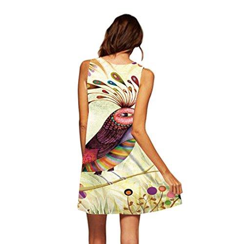 Donna a YICHUN maniche Vestito ad linea 11 Senza Bird 4tFAaqYFw