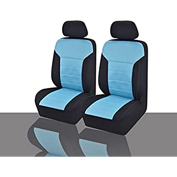 CAR PASS - 11PCS Blueline Automotive Seat Covers Set Package-Universal fit for Vehicles,Black and Blue With Composite Sponge Inside,Airbag Compatible
