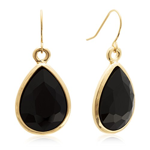 Black Crystal Pear Shape Dangle Earrings In Yellow Gold Tone