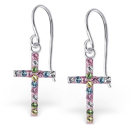 Multicolor Crystal Cross Earrings Dangle Earrings Sterling Silver 925 (E20036) - Multi Color Cross Ring