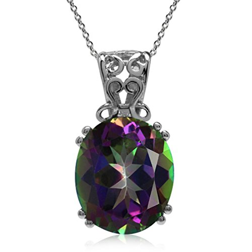 5.59ct. Mystic Fire Topaz Gold Plated 925 Sterling Silver Filigree Pendant w/ 18 Inch Chain Necklace
