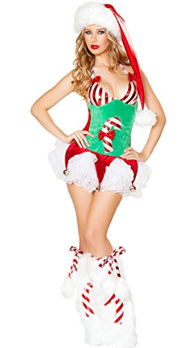 ANRevelinCN Halloween sexy Reindeer costume clubbing fancy ball 1040 (Green Free (Devil Sexy Costumes Adult Jumpsuit)