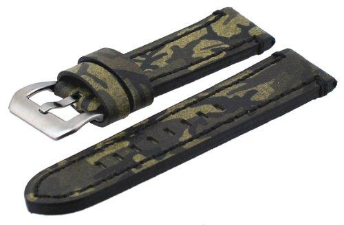 Italian Design Panerai Compatible 24mm Lug Width Genuine Leather Band with Tang Buckle (Replica Panerai)