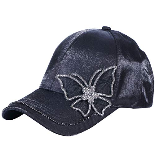 (Geminilee Women Cap Hat Women Rhinestone Casual Baseball Cap Solid White Pink Adjustable Size Caps,Butterfly Black)