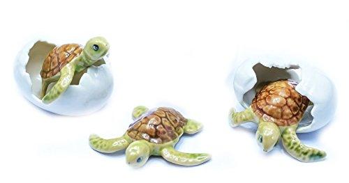 Grandroomchic Animal Miniature Handmade Porcelain Mini Sea Turtle Egg Set Figurine Collectibles Gift
