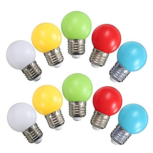 G45 Mini LED Colored Light Bulb, 1W E27 Base Multi-Colored Bulbs, White Yellow Green Red Blue for Bedroom Wedding Halloween Christmas Party Bar Mood Decoration,10 Pack -