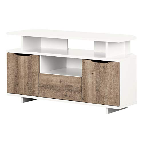 South Shore 12209 Reflekt TV Stand, Pure White and Weathered Oak ()