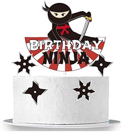Peachy Amazon Com Gmakceder Happy Birthday Ninja Cake Topper Toys Games Birthday Cards Printable Inklcafe Filternl