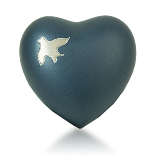OneWorld Memorials Aria Birds Ascending Bronze Keepsake Urns - Extra Small - Holds Up to 3 Cubic Inches of Ashes - Blue Cremation Urn Keepsake for Ashes - Engraving Sold Separately