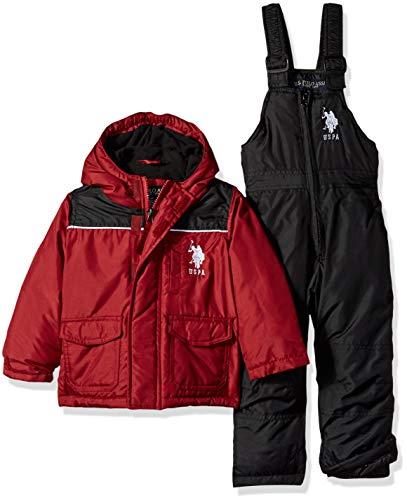 US Polo Association Baby Boys 2 Piece Snowsuit with Ski Bib Pant Set, Red/Black, 18M