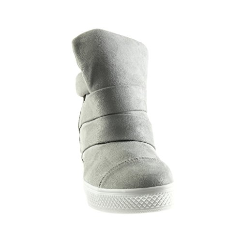 Angkorly - damen Schuhe Sneaker Keilabsatz - Hohe - Plateauschuhe - vintage-stil - String Tanga Keilabsatz high heel 8 CM - Grau