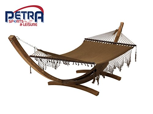 Petra Leisure 14 Ft. Teak Wooden Arc Hammock Stand + Deluxe Hand Woven Bohemian Chic Rope Hammock Bed. 2 Person Bed. 450 LB Capacity