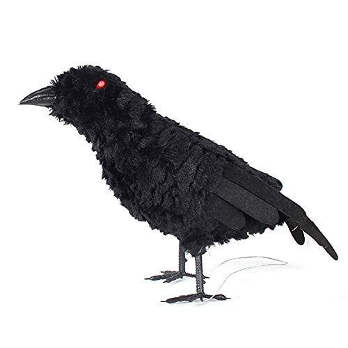 ZFRANC Halloween Decoration,Artificial Black Feathered Owl Crow Cat Animal Props with Luminous Eyes Art Crafts for Halloween