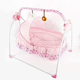 Wanlecy Electric Baby Crib Cradle Auto Swing Rocking Cot Infant Sleeping Basket with Music and Toys Newborns 0-36 Months (Pink)