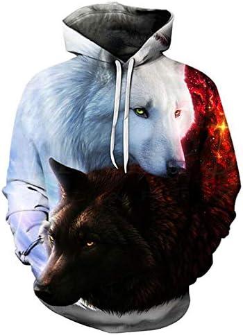 [해외]OMMR 3D Wolf Printed Hoodies for Men Women UniPullover Autumn Winter Long Sleeve Hooded Sweatershirt / OMMR 3D Wolf Printed Hoodies for Men Women, UniPullover Autumn Winter Long Sleeve Hooded Sweatershirt