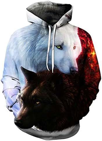 iNoDoZ Men's Autumn Winter Hoodies 3D Print Wolf Long Sleeve Top Blouse Hooded Sweatshirt