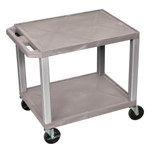 Mobile Treatment Cart - Luxor Tuffy WT26-N Multipurpose 2 Shelves AV Cart - Nickel Legs