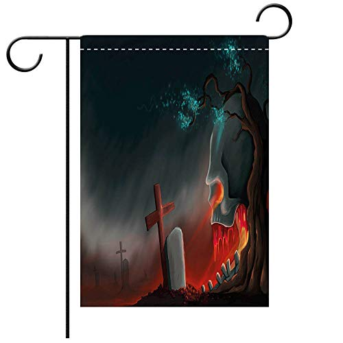 BEICICI Double Sided Premium Garden Flag Halloween Graveyard Cemetery Tree with Evil Skull Tomb Stone Cruciform Creepy Fantastic Decorative Multicolor Best for Party Yard and Home Outdoor Decor -