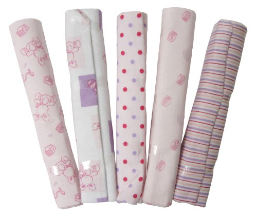Big Oshi Baby Essentials 5 Pack Flannel Receiving Blankets, ()