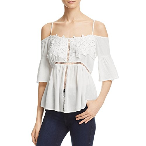 Sadie Clothing - Sadie & Sage Womens Crochet Trim Cold Shoulder Blouse Ivory L