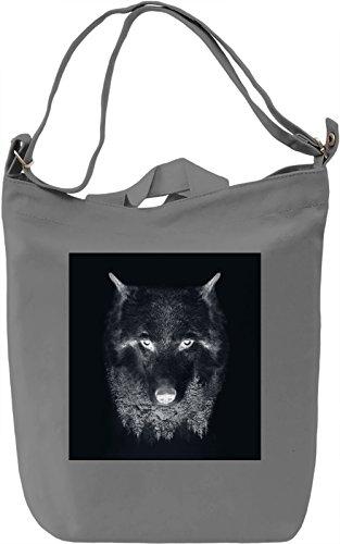 Dark Wolf Borsa Giornaliera Canvas Canvas Day Bag| 100% Premium Cotton Canvas| DTG Printing|