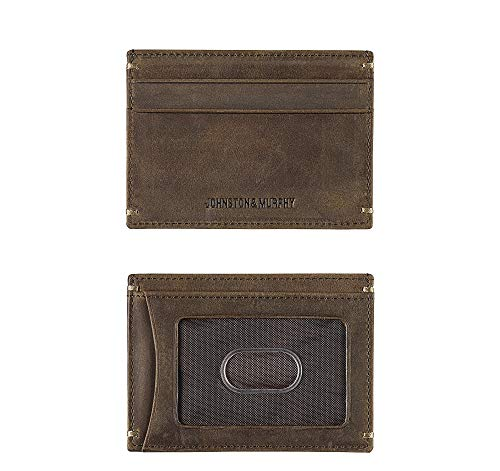 Murphy Compact Wallet (Johnston & Murphy RFID Mens Weekender Card Case Wallet - Tan Oiled Full Grain)