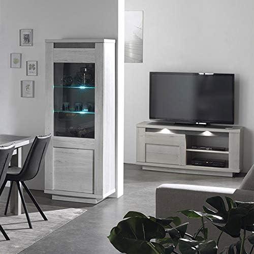 Mueble TV Moderno Color Roble Blanco Gris Childeric, Gris, Sans éclairage: Amazon.es: Hogar