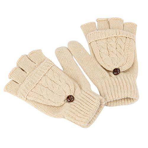 Loneflash Girls Female Cute Mitten Warmer Women Winter Fingerless Winter Gloves (Beige) ()