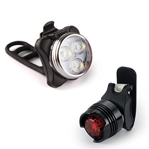 Beautystar Wiederaufladbare LED Fahrradlampe, LED Frontlicht und Rücklicht Für Radfahren, 350lm , 4 Licht-Modi, Fahrradlicht, Fahrradbeleuchtung Set,Aluminium-Rücklicht