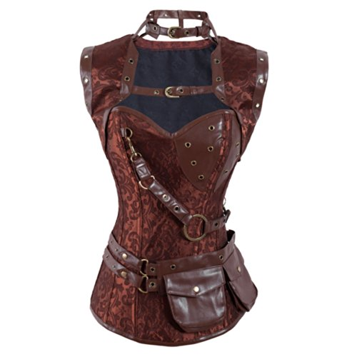 Chart Torrid Size Costume (QinYing Retro Steel Boned Corset Sleeveless Steampunk Bustier Jacket with Belt Coffee)