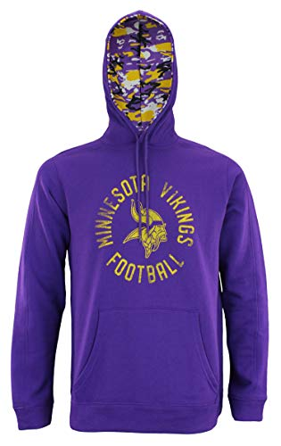 Zubaz NFL Men's Team Camo Lined Pullover Hoodie, Minnesota Vikings X-Large
