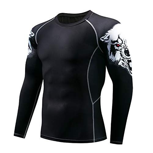 LEXUPA Men's t-Shirts with Pockets Men Spring Winter Solid Color Long Sleeve Printed O Neck Tops ()
