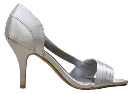 Sandalo Stiletto Donna Elegante Con Strass Brillanti (40 M Eu / 9 B (m) Us, Argento)