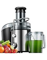 Juicer, 800W juicemaskin Hela frukter och grönsaker Lätt att rengöra, Juicer med dubbla hastigheter med högre juice- och näringsutbyte, Droppfunktion, Rostfritt stål, Silver