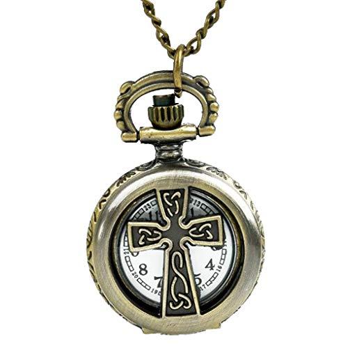 Celtic Womens Watch - Women's Brass Vintage Celtic Cross Pendant Ornate Pocket Watch Necklace Chain Small Back Flower