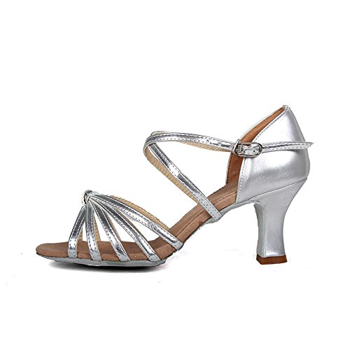 femmes latine Pu Vente Satin danse YFF des d'Amérique Tango de Chaussures heeled PU silver Bal nnFtZ