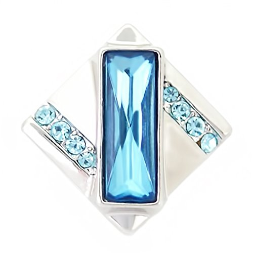 Lovmoment Snap Square with Rhinestones 20MM Snap Jewelry Button Charms (light blue)