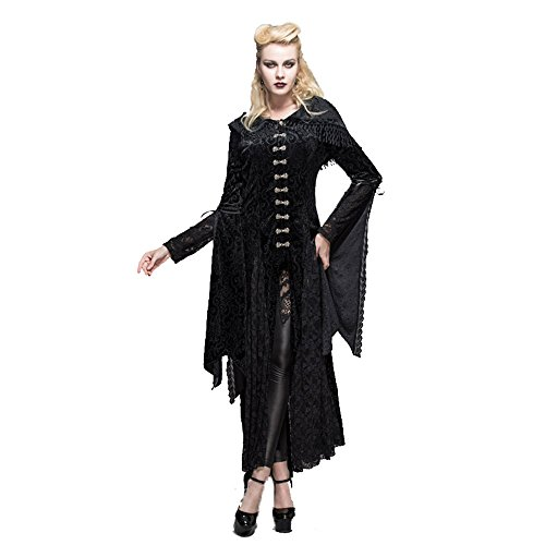 Devil Fashion - Vestido - corte imperio - Manga Larga - para mujer negro